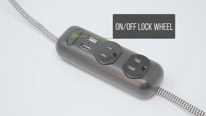 "Our ""on/off"" lock wheel enables power and keeps the power strip in place."