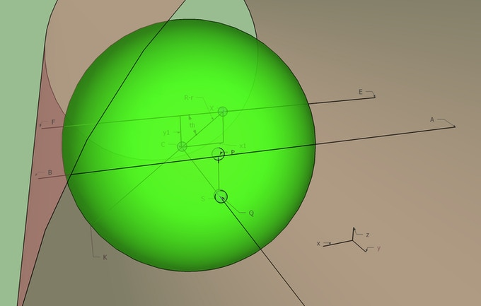 A diagram showing the ball in the tube, used to derive how the ball's roll path changes with velocity