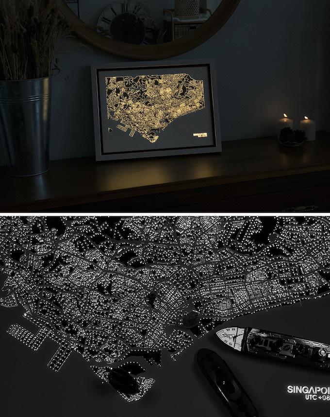 illuminated lighting effects simulating vibrant building & street lights
