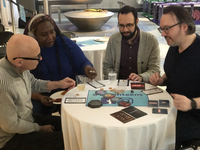 Playtesting at a games event at the American Museum of Natural History.