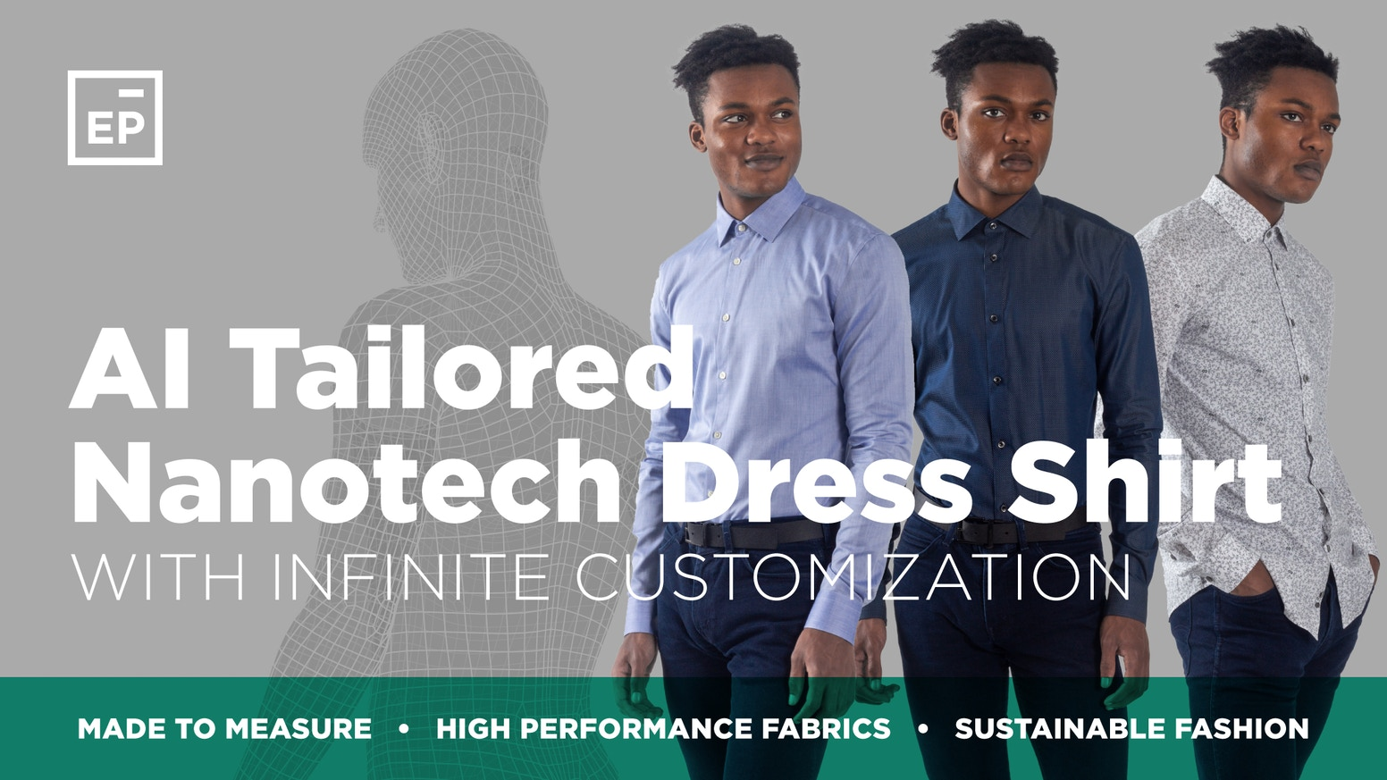 Pick your own unique performance dress shirt, then use your phone to 3D scan your body for an amazing fit.