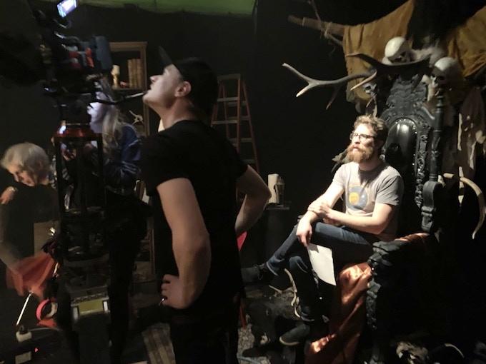 Tehben and Woodruff on the set.