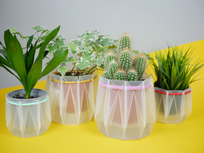Multiple POTR Pots are cut from a single sheet of recycled polypropylene.