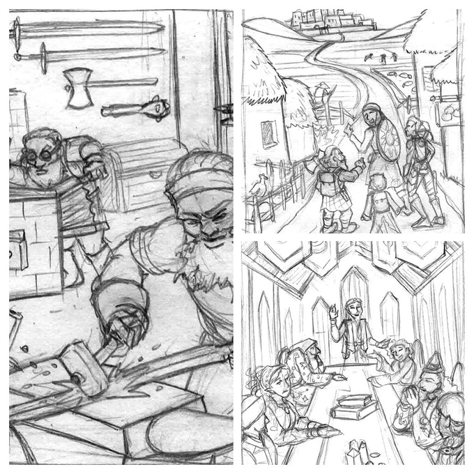 Sketches by Amanda Kahl of some of the images that will appear as chapter heads in the book.