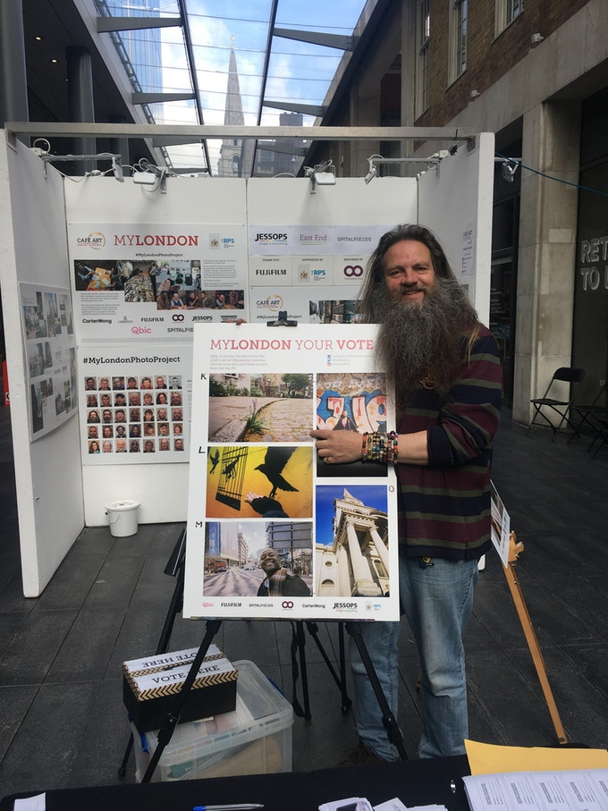 Richard Fletcher with his top 20 photo (top left, which is June 2020 in the calendar)