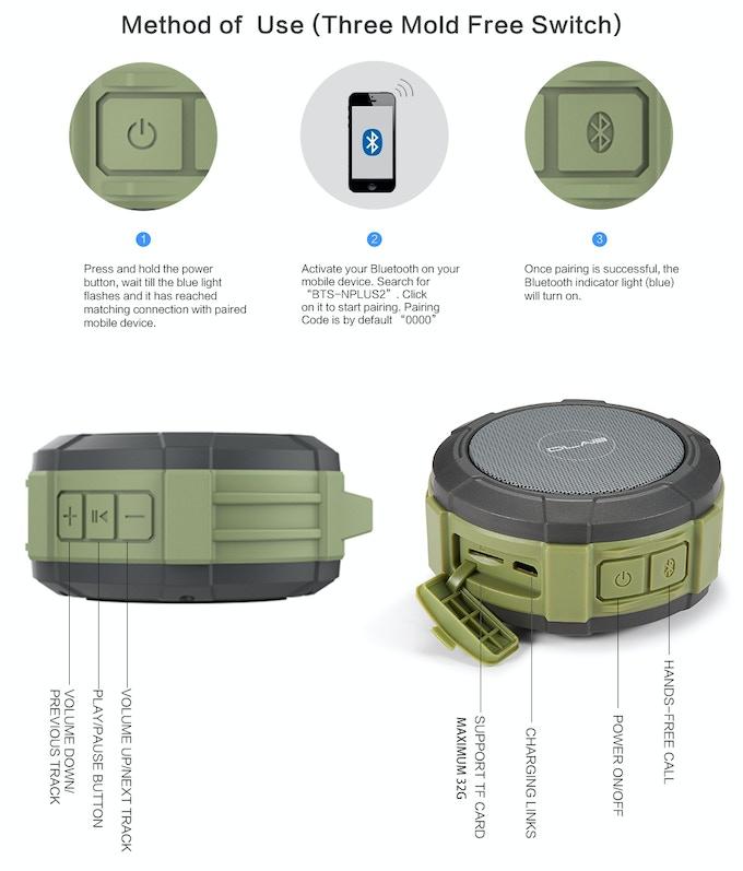 D LAB BTS-NPLUS2 Sports Bluetooth Outdoor Speaker by D LAB