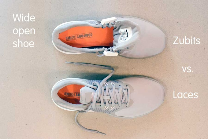 Easily slip into wide open shoes. No more squeezing or reversing laces to get in.