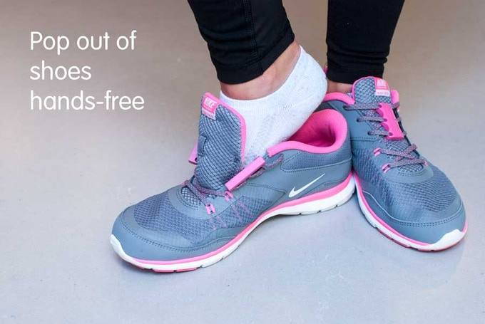 Firmly step on your opposite heel and lift ankle to pop out hands-free.