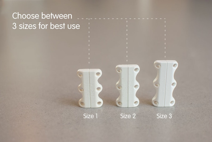 After the campaign ends, you will be sent a survey asking you to choose your preferred size and color for each pair of Zubits closures you purchased. The survey will explain the size choices thoroughly to help you decide. Larger sizes hold more secure but are harder to split open. Smaller sizes are easier for kids to open yet strong enough for play and running.