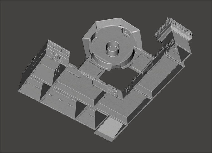 Buildings are hollow to save on print time and materials