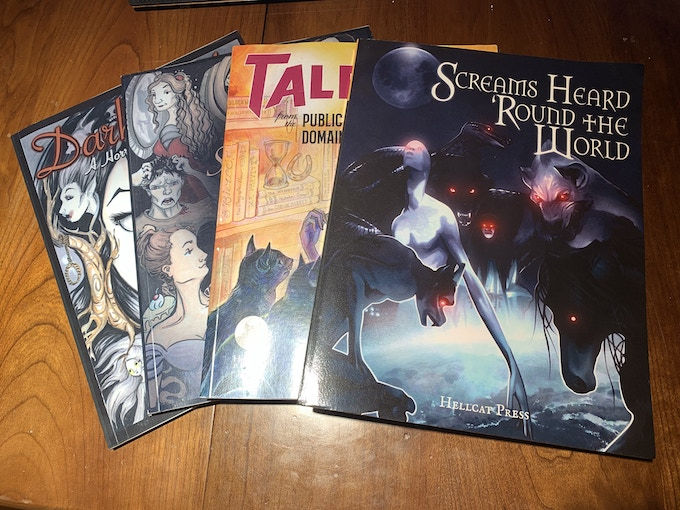 """For $100, you can get a Hellcat book bundle: one paperback copy each of """"Dark Lady,"""" """"Simply Sinful,"""" """"Tales From the Public Domain,"""" """"Screams Heard 'Round the World,"""" and """"Dark Lady Returns,"""" plus an exclusive poster by Jen Tracy"""