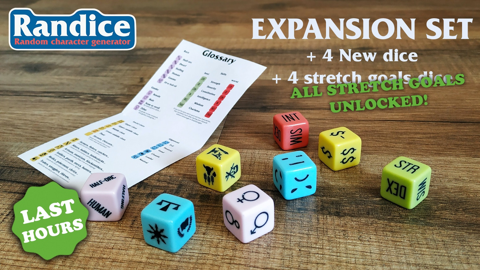 A random character generator dice set to end boring and predictable charcters and npcs in your tabletop rpg campaigns with 4 more dice!