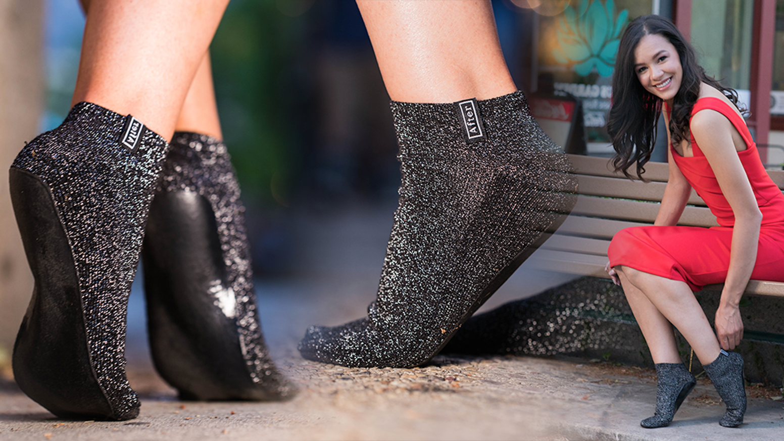 """Save your feet after a night out"" Slip off your heels, slip on Aftersocks"