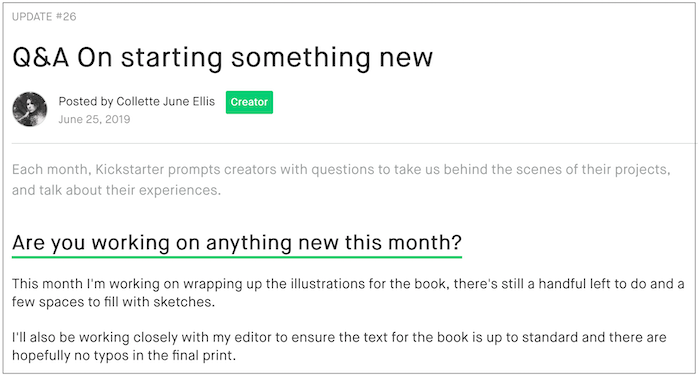 Collette June Ellis, a Publishing creator, posted a nice example of a Q&A update.
