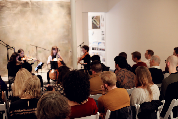 Desdemona Ensemble performing Kinds of Kings string quartets, presented by Metropolis Ensemble in New York, NY. Photography by Susanna Hancock.
