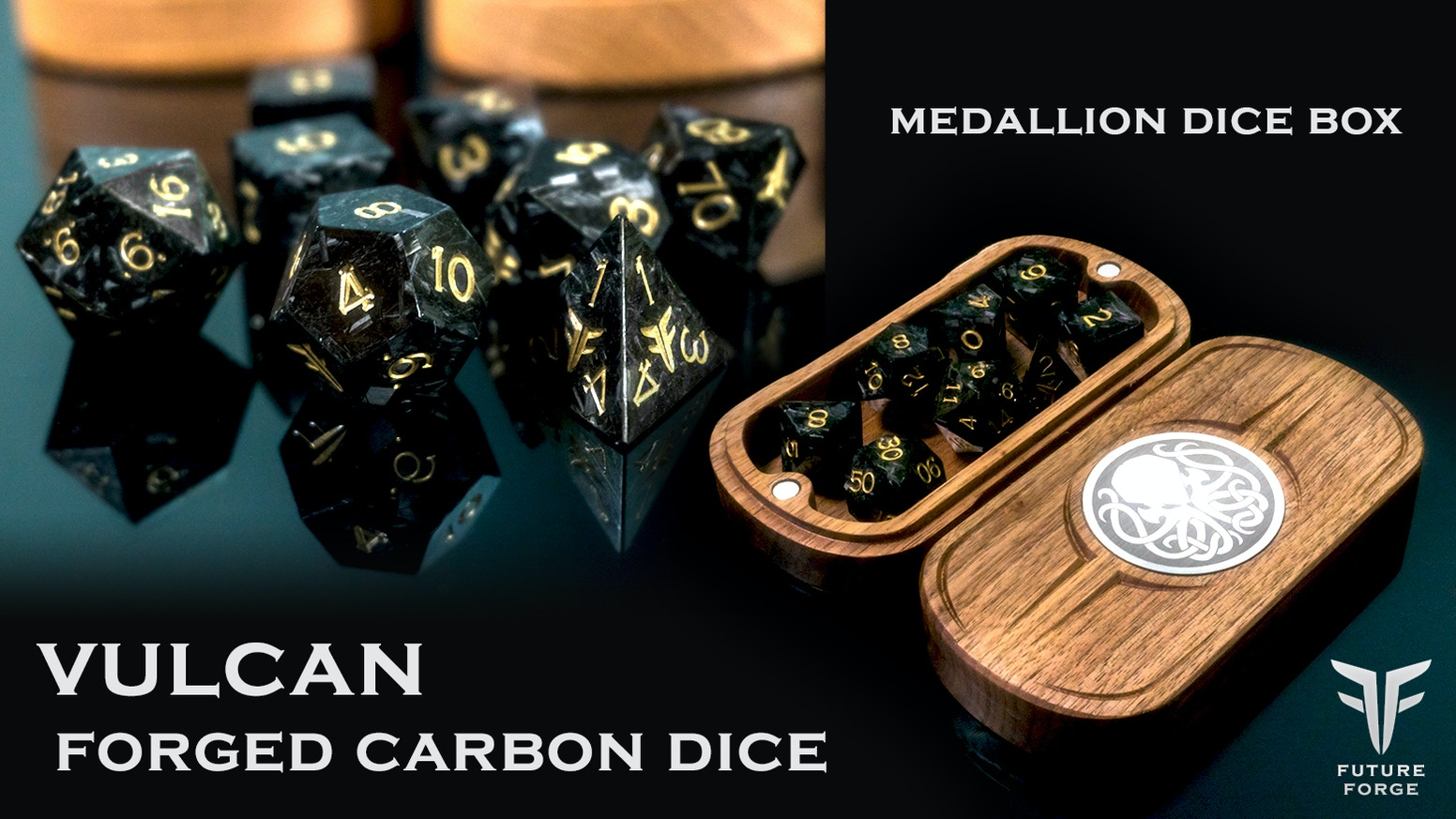 Exclusive Solid Forged Carbon Polyhedral Dice for board games & RPG campaigns. 10pc, 7pc sets,  D20, D12, D6. Add a Medallion Dice Box.