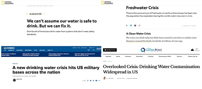 Recent news about drinking water crisis