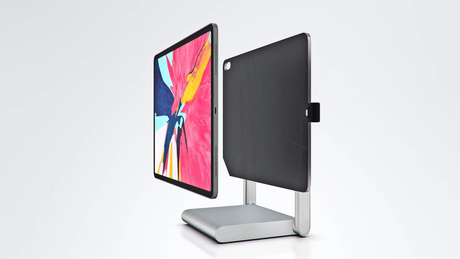 The world's first desktop docking station designed for iPad Pro.  Easily switch between office, design, or illustration work in a snap.
