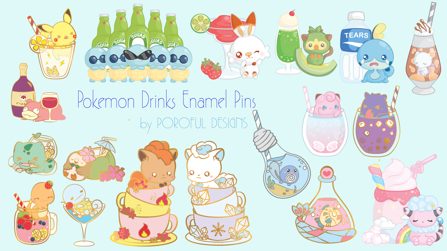 Characters and drinks in enamel pin, keychain and sticker form!