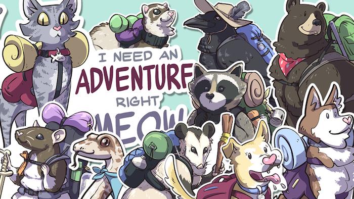 Vinyl sticker series of adventurous backpacking critters.