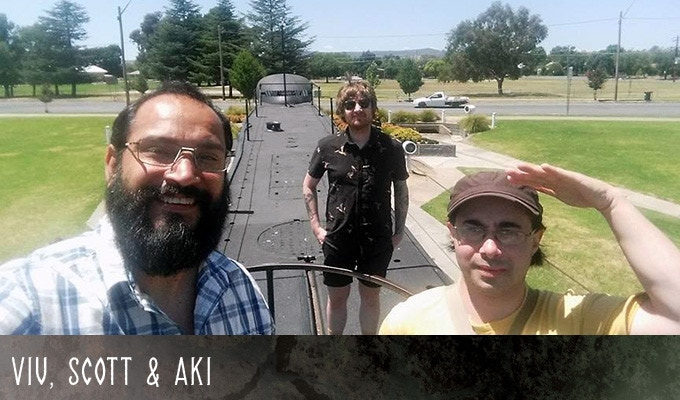 The team taking a break during the 9 hour drive to Canberra for CANCON  (Jauary 2018 - Holbrook, Victoria) - Left to right: Viv, Scott, Aki