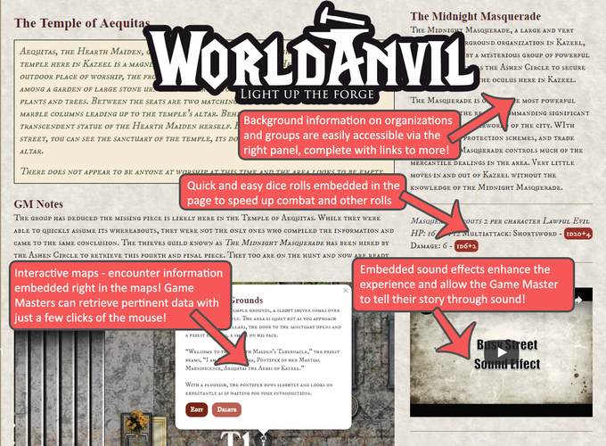 A break-down of a sample page from our World Anvil catalog!