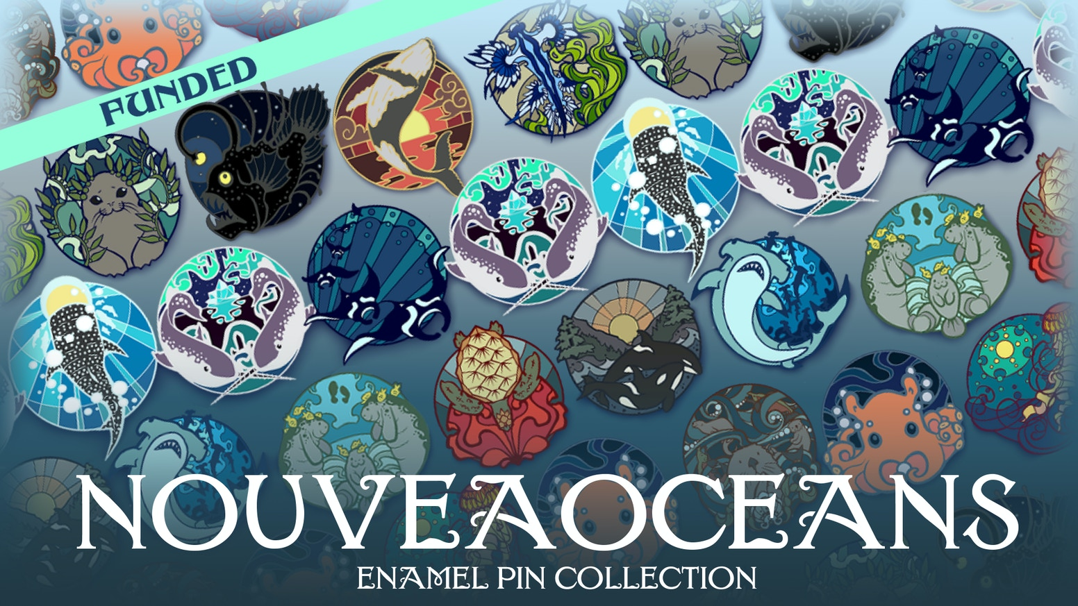 A collection of art nouveau-inspired, ocean-themed enamel pins.