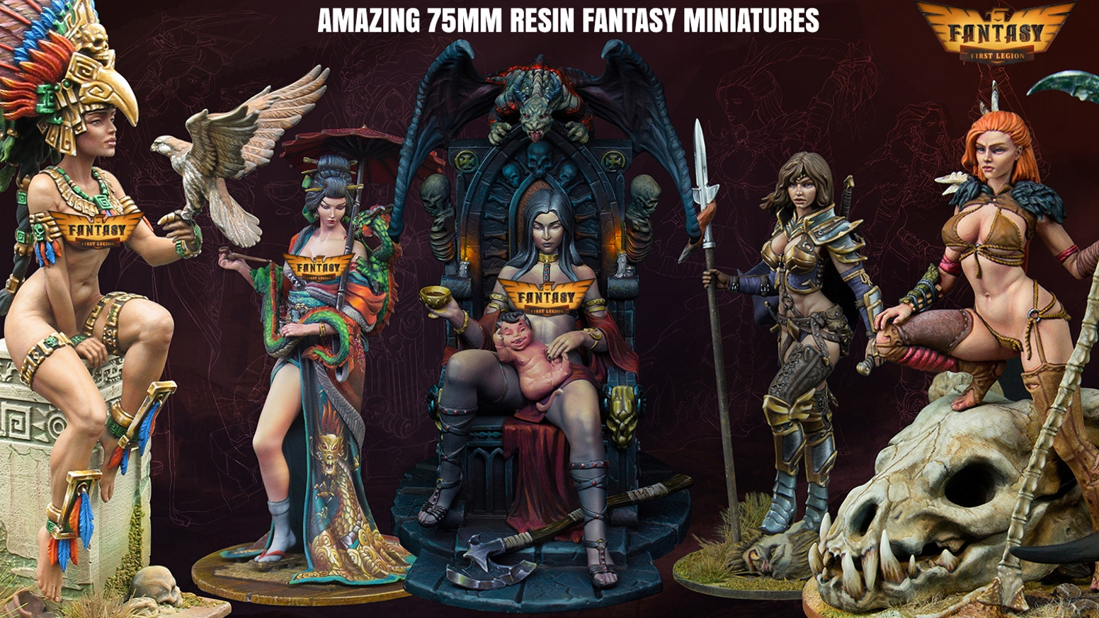 "Incredibly Sculpted and Cast 75mm Resin ""Femmes Fatales"" Provocative Fantasy Figure Kits for Collectors and Artists"