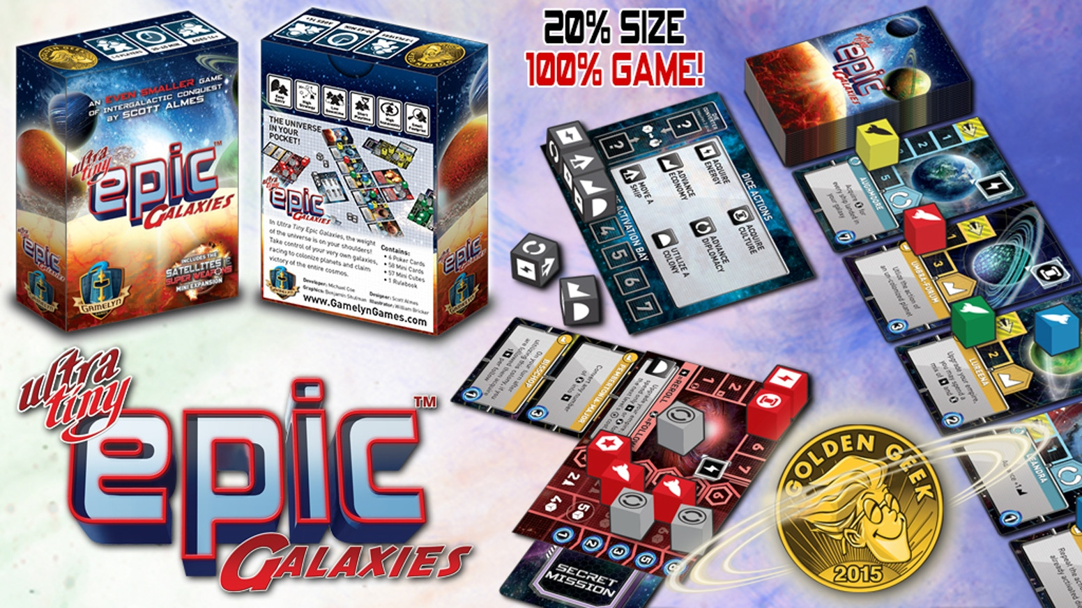 The award winning Tiny Epic Galaxies will now fit in your shirt pocket! Supports 1-5 Players at 30-45 minutes.