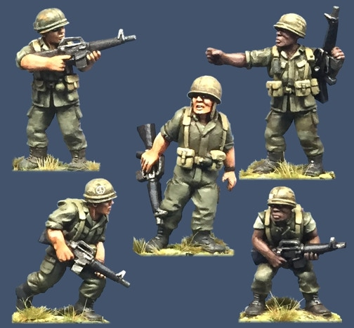 91001 US Army Rifles. All figures come in 28mm scale unpainted white metal with a base.