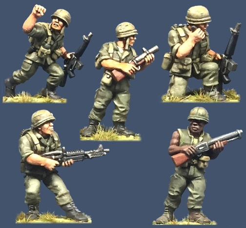 91002 US Army Specials. All figures come in 28mm scale unpainted white metal with a base.
