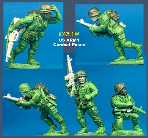 91005 US Army in Combat. All figures come in 28mm scale unpainted white metal with a base.
