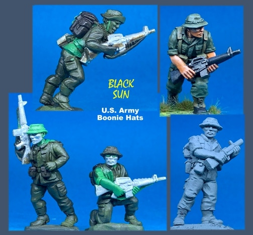 91006 US Army in Boonie Hats. All figures come in 28mm scale unpainted white metal with a base.