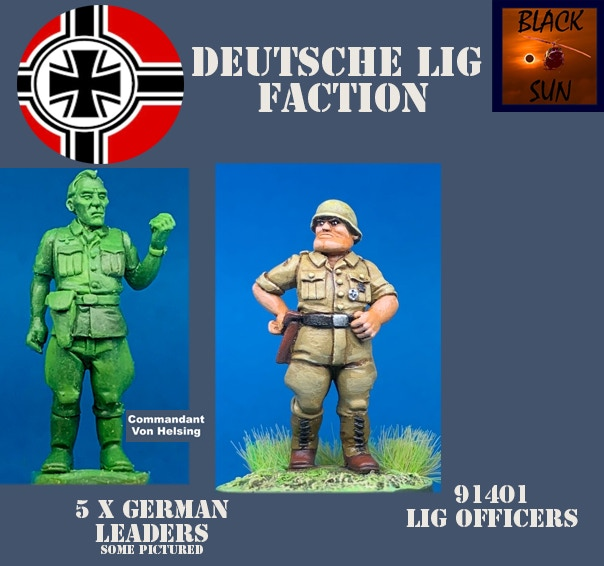 91401 Deutsche LIG Officers. All figures come in 28mm scale unpainted white metal with a base. Three more figures need to be sculpted for this package and are not pictured.