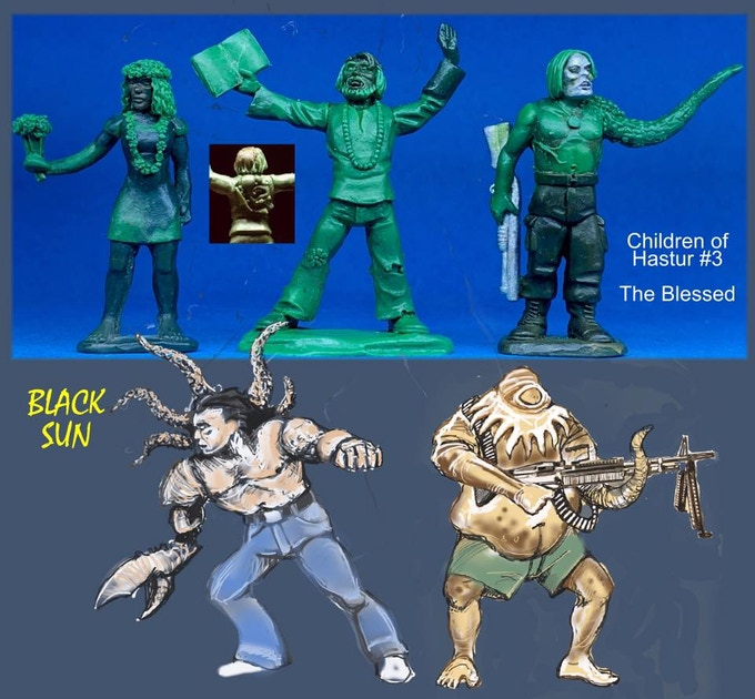 91603 Blessed Children of Hastur. All figures come in 28mm scale unpainted white metal with a base. Two more figures need to be sculpted for this package.