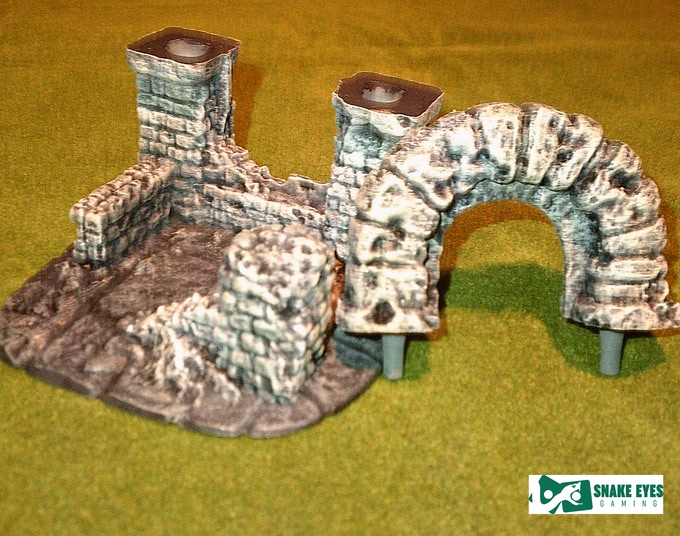 arch ruin with arch detached - printed and painted