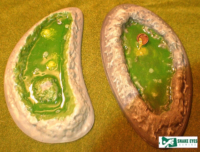 2 toxic pools - printed, painted, and filled with realistic water