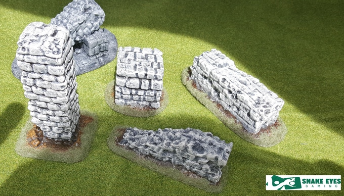 5 scatter ruin pieces - printed and mostly painted