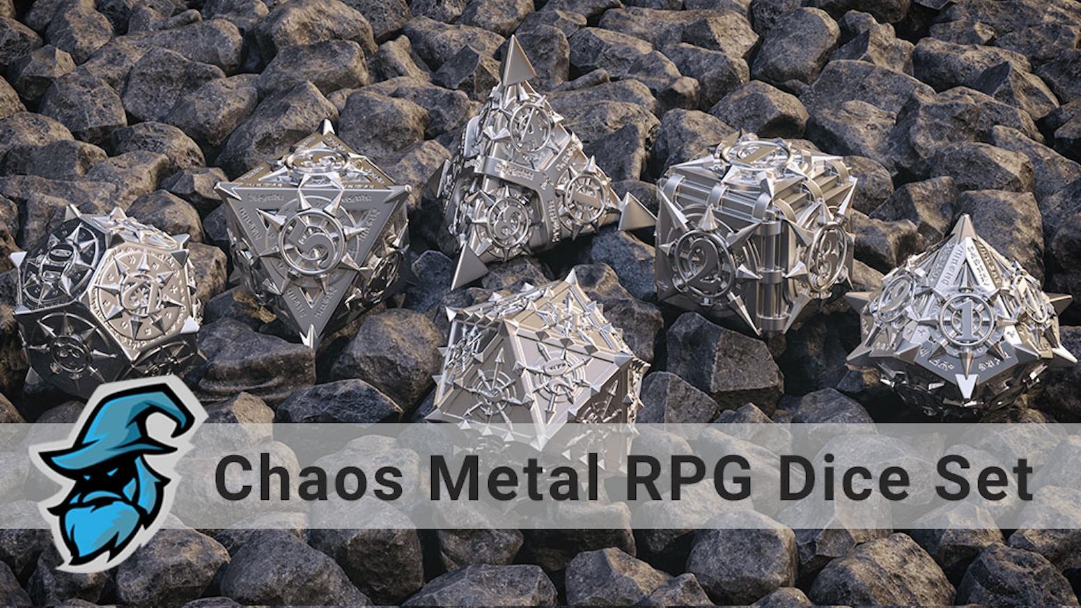 Path of Chaos Metal RPG Dice Set  - D4, D6, D8, (2x) D10, D12, D20