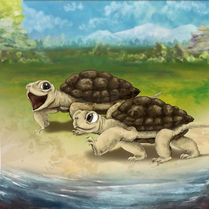 Picture from the book - Two slow turtles having a race
