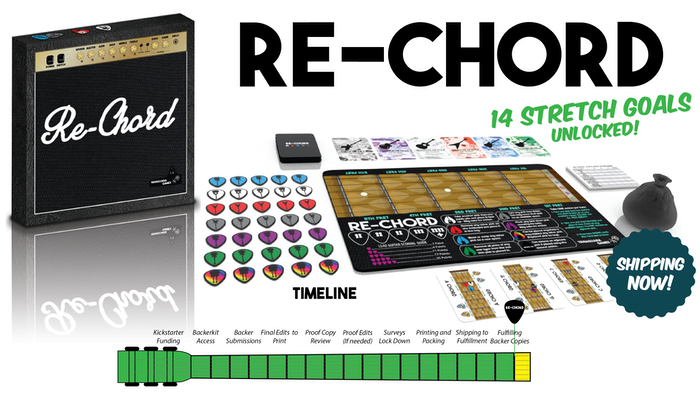 A guitar themed Euro game in which players use real picks, chords, and play songs to gain the most fame.  make/100  Re-Chord Rockstars
