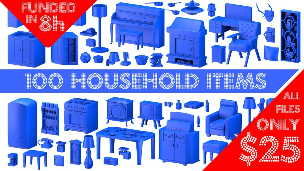 Household items - 3D Printable Models Sets project video thumbnail