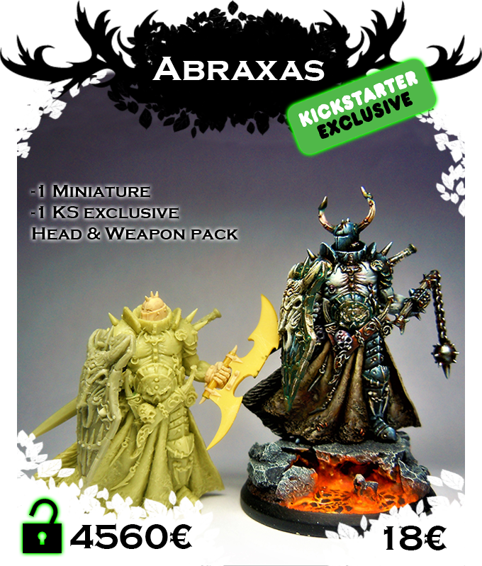 Abraxas have two head, one extra head and sword, exclusivity KS, and a dedicaced card!