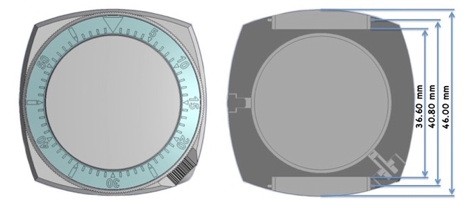 CAD diagram showing cross-section of the watch case