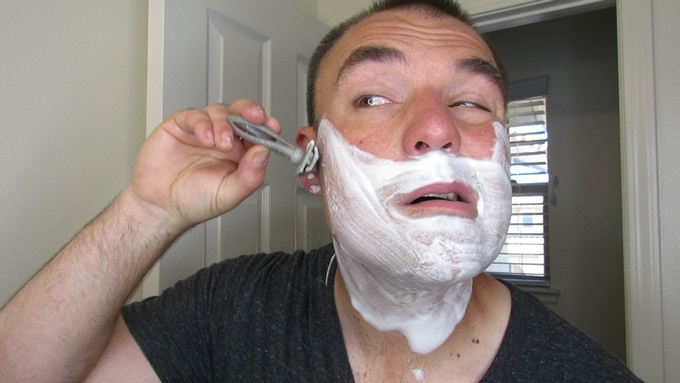 Me shaving with one of the first razor prototypes!