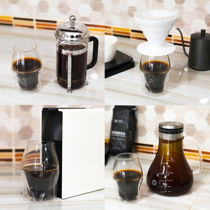 Use the AVENSI Glasses with your favorite brew methods: french press, Aeropress, pour over, Hario V60, Chemex, Kalita Wave, Clever Dripper, Nespresso or other single serve coffee pod maker, cold brew, espresso, mocha pot, siphon and more!