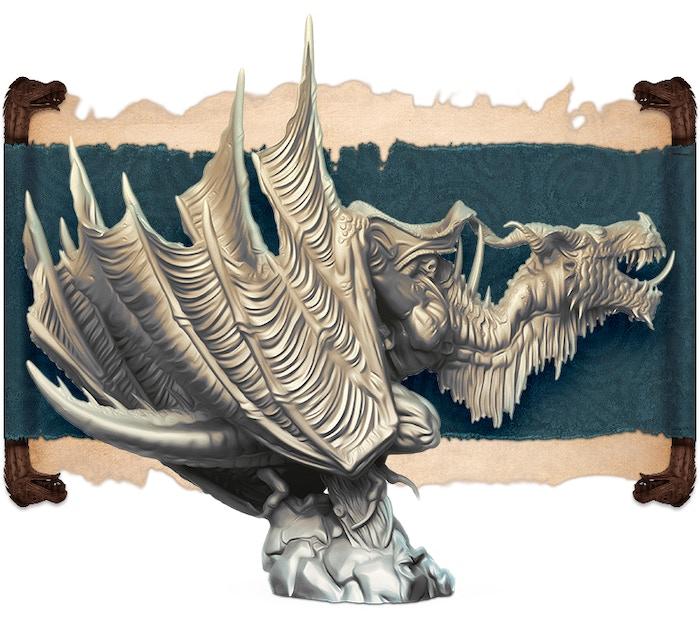 とげの獣のアイボリーレンダリング、背面図。 Edgar Ramosによって彫刻されました。