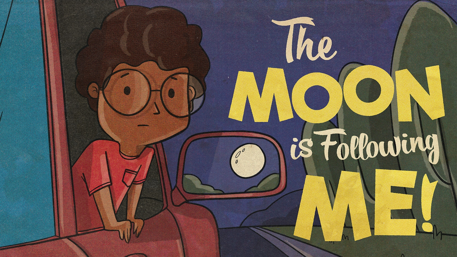A little boy humorously attempts to convince his family that the moon is following him every night.
