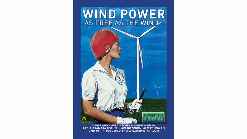 Green New Deal Wind Power Poster