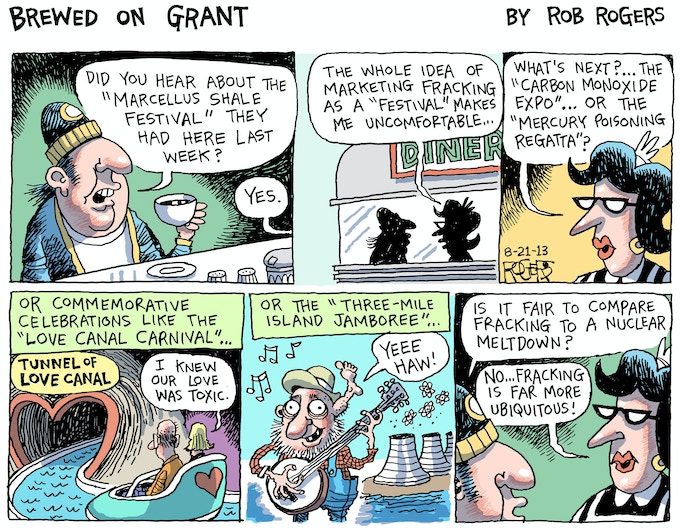 Rob Rogers' Brewed On Grant from 2013.